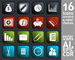 16 Icons on Square Black, Red, Green and Blue Button