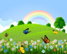 Vector Green landscape with butterfly and rainbow