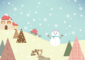 Winter Vector on Mountain with Snowflakes, Snowman and Trees