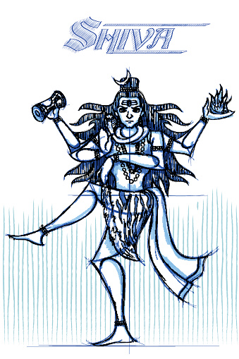 Indian God Shiva in sketchy look