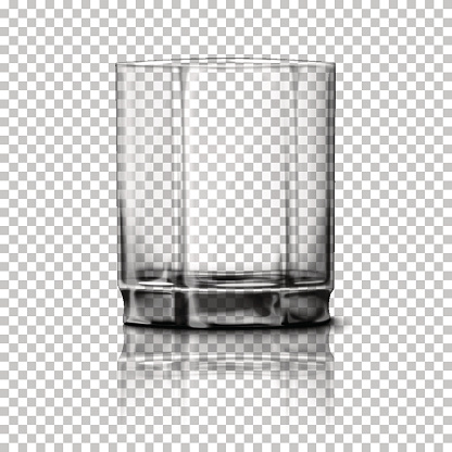 Transparent realistic Vector glass isolated on plaid background with reflection