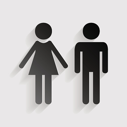 Male and female sign. Black paper with shadow on gray