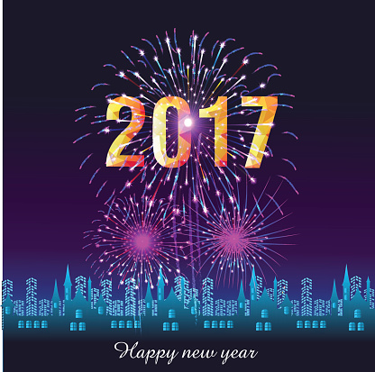 Happy New Year 2017 with fireworks display background