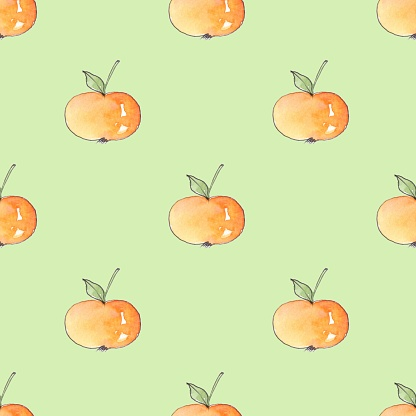 Pattern with cartoon apples. Seamless background 5