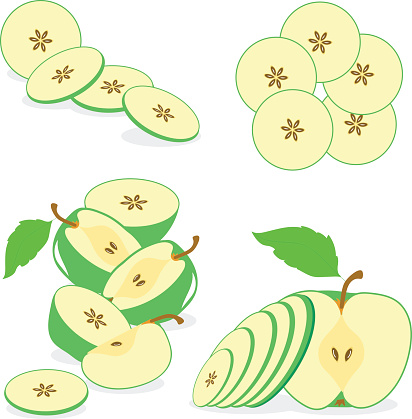 apple slices, collection of vector illustrations on a transparent background