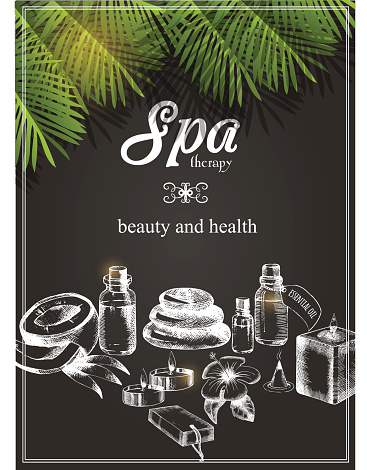 Vector poster for spa therapy with draw freehand objects.