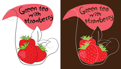 Decorative cup of tea with hand drawn strawberries.