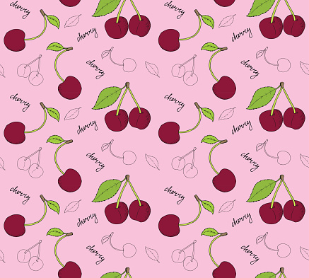 Hand drawn cherries seamless pattern.