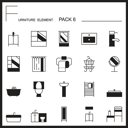 Furniture and home decorate line icons pack 6.Mono outline icons.