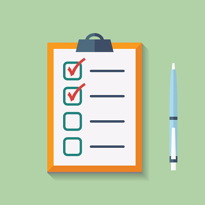 Check List Flat Icon with pen.