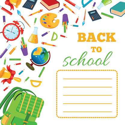Back To School cover for children exercise book.