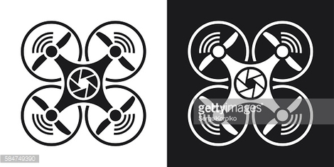 Drone with camera icon, vector. Two-tone version