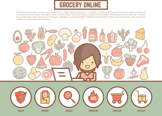 grocery online shopping banner background  cute outline cartoon