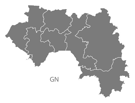 Guinea regions Map grey