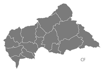 Central African Republic prefectures Map grey