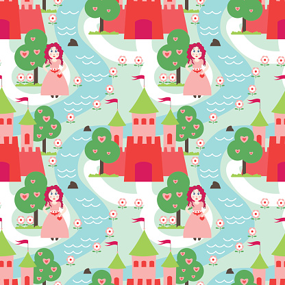 Princess and castle vector pattern