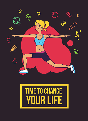 Fitness typographic poster. Time to change your life.