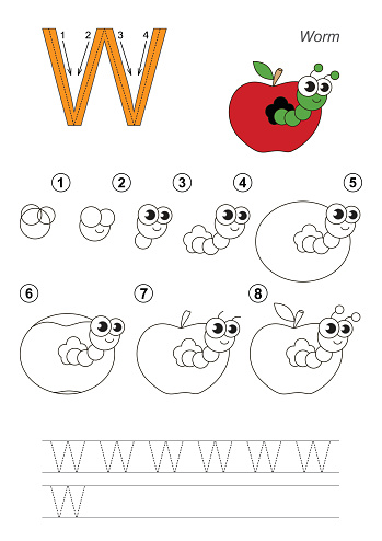 Drawing tutorial. Game for letter W. Apple Worm.