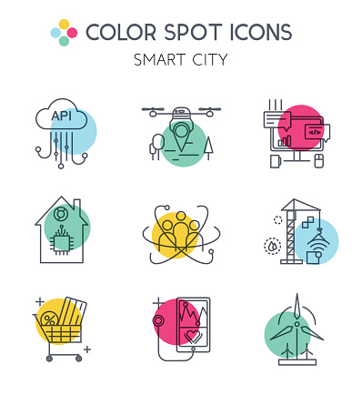 Smart city and internet of things line icons.