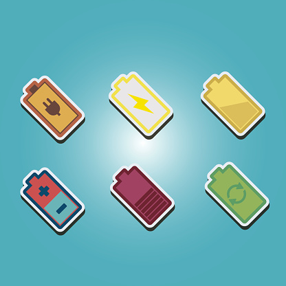 set of color icons with batteries for your design