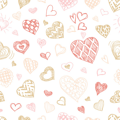hearts seamless pattern. hand drawn Valentines day background