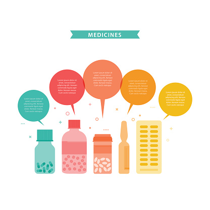 Medicines. Vector illustration with different drugs and doctor's stuff.
