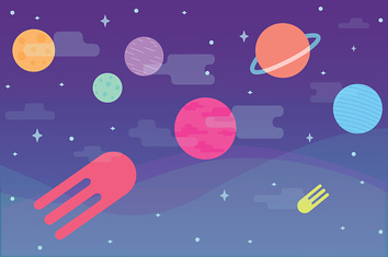 Flat colorful cosmos game background