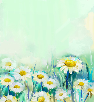 Oil painting daisy flowers in field