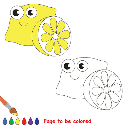 Funny Yellow Lemon cartoon. Page to be colored.