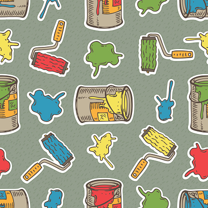 Seamless Vector Pattern with Multicolored Roller Brushes, Paint Stains and