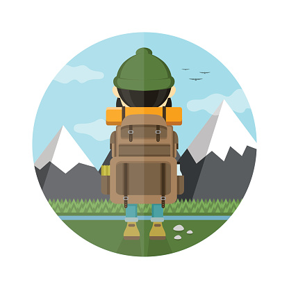 Tourist looking at mountains flat illustration