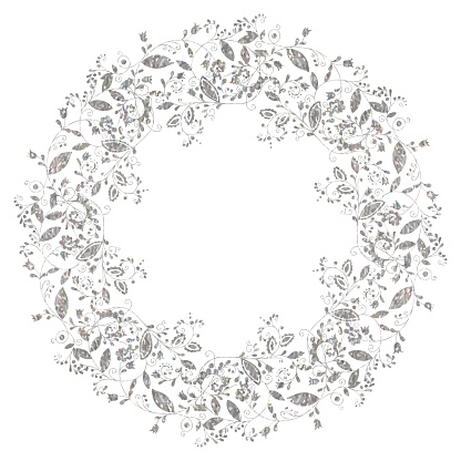 Circle silver floral frame in doodle style