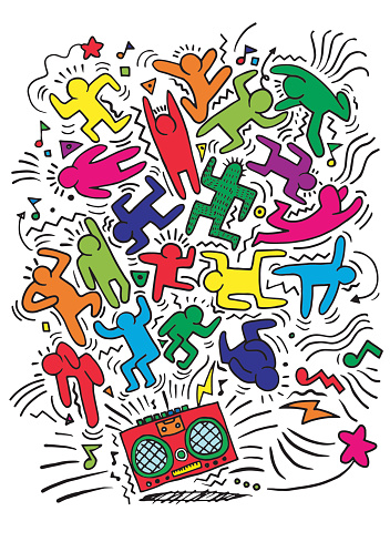 Hand drawing Doodle Vector Illustration of Funny party people