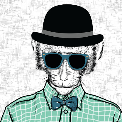 Macaque monkey hipster in a shirt , poster hand drawn illustration