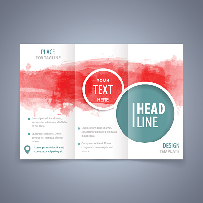 Brochure vector template with watercolor background
