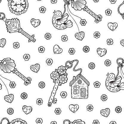 Vintage Seamless pattern with Hand drawn doodle lock, trinkets, keys