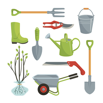 Set of various agricultural tools for garden care