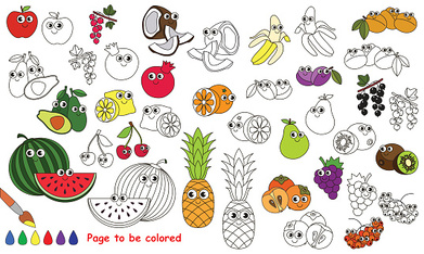Funny big fruit set cartoon. Page to be colored.