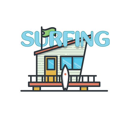 Beach house with surfboard on white background in line style