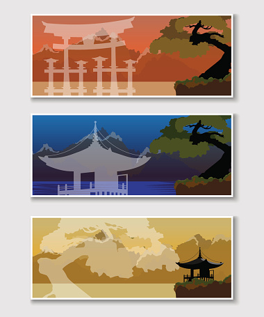 Banner with a Japanese landscape