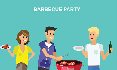 Family picnic. Bbq party. Food and barbeque