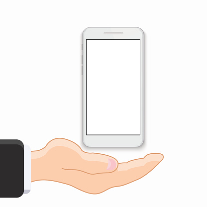 vector modern smartphone with hand on white