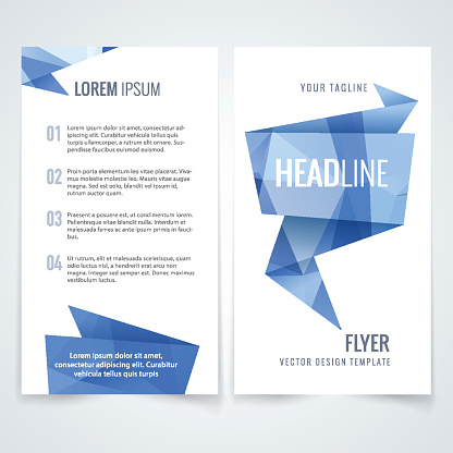 Vector flyer triangle blue design template