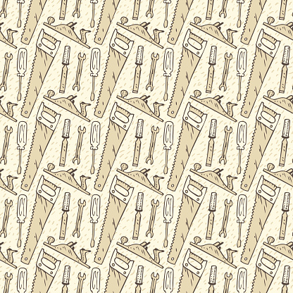 Seamless Vector Pattern with Tools in Retro Style
