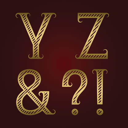 Y, Z golden striped letters, ampersand, exclamation and question