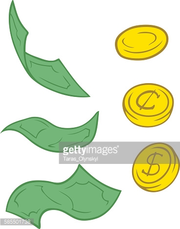 Set of cartoon greenback and coins