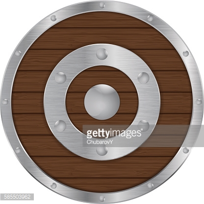 Round shield. Wood with metal