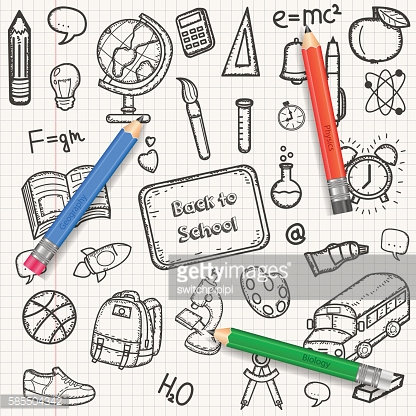 Back to School background with hand drawn doodle