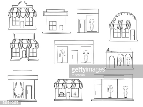Store buildings coloring book vector