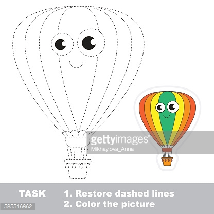 Aerostat to be traced. Vector trace game.